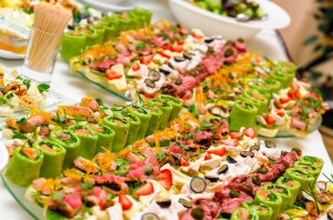 Trays with various delicious appetizer